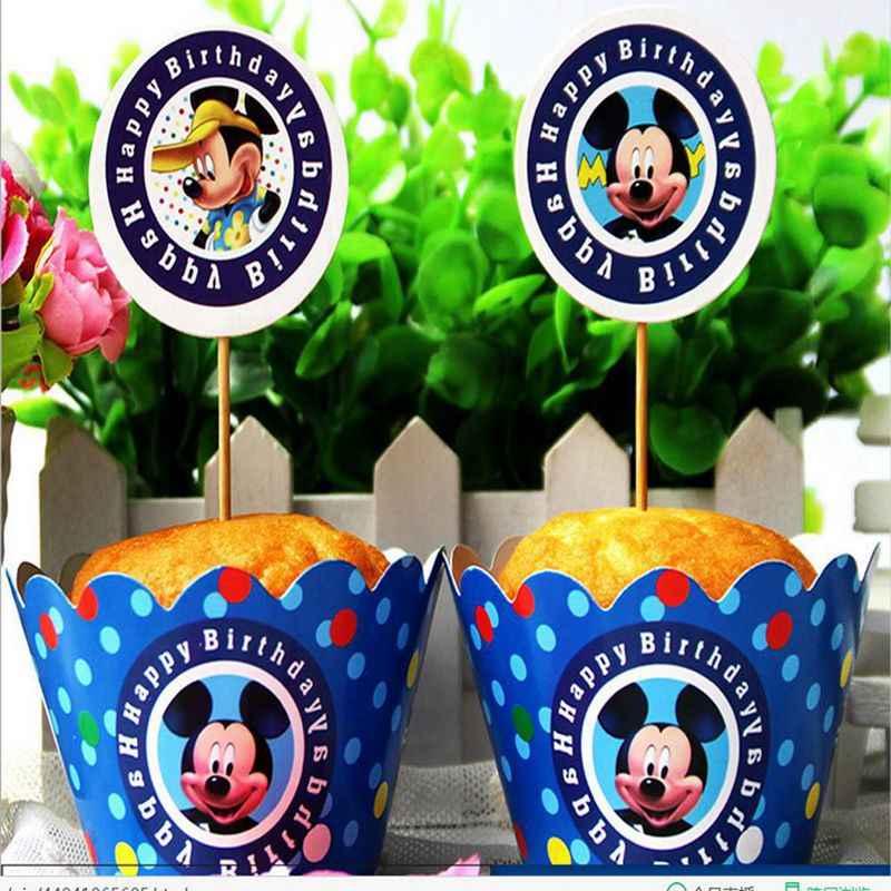 24 шт. мультфильм Микки Маус кекс Детские упаковки выбрать дети письмо с днем рождения семья вечерние украшения торт поставки