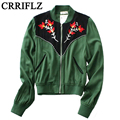 2016 New European Style New Autumn Dark Green Embroidered Collar Zipper Jacket IF599