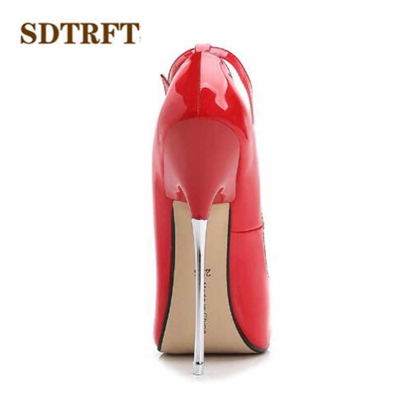 SDTRFT Cộng Với: 35-44 mùa xuân mùa thu Mới thời trang zapatos mujer 16 cm Kim Loại mỏng cao gót giày cưới người phụ nữ Khóa Cosplay bơm