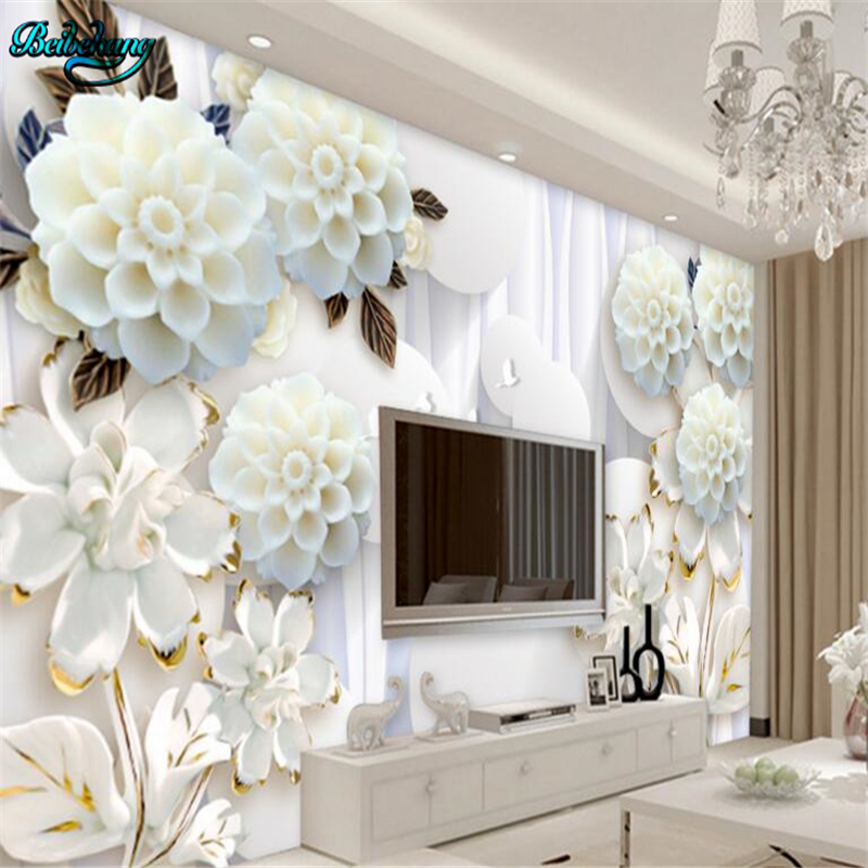 beibehang 3D Stereo Circle White Flower Backdrop Decorative Painting Large Custom Nonwovens Wallpaper Mural