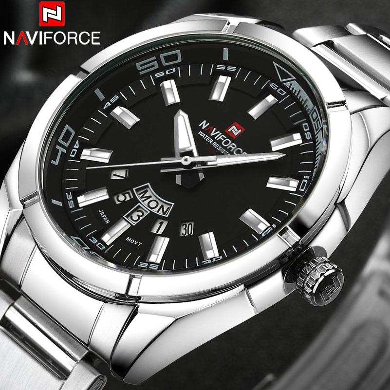 цены NAVIFORCE Brand Men Watches business Quartz Watch men's stainless steel band 30M waterproof date wristwatches Relogio Masculino