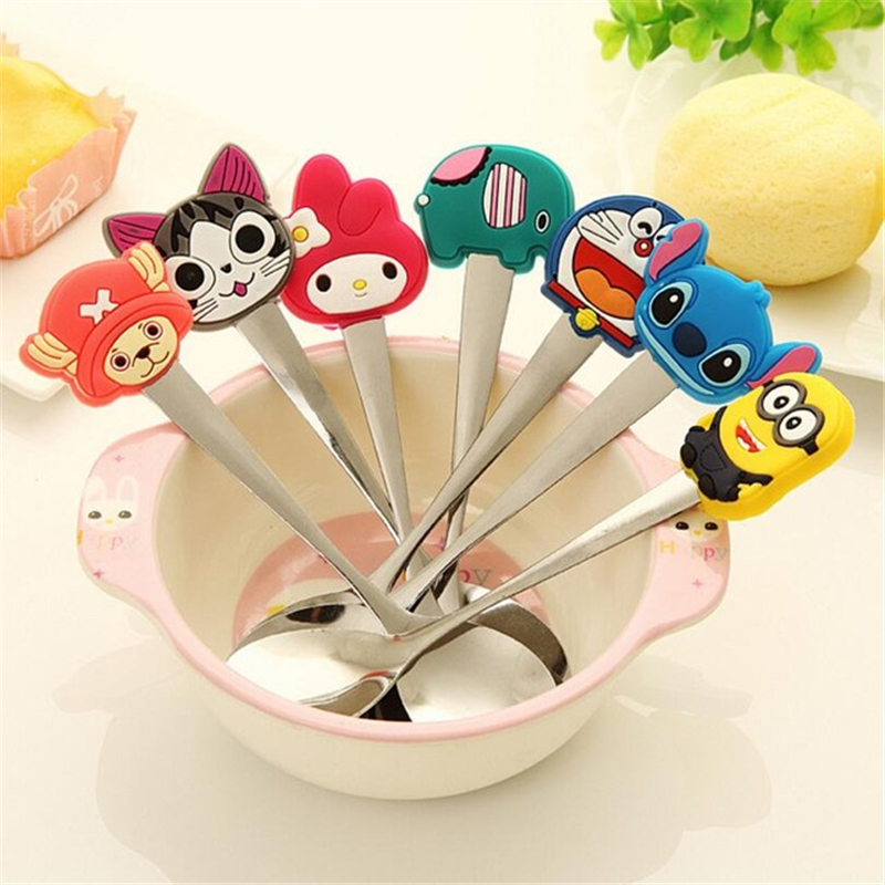 ANGRLY Kitchen Kawaii Silicone Cartoon Characters Stainless Steel Spoon Children's Soup Coffee Spoon Dinnerware Insulation Gifts