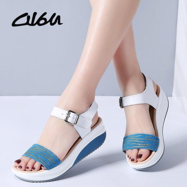 165b2950b883 O16U Summer Women Sandals Shoes Strap Leather Leopard Casual sandals Ladies  Buckle Basic Flat Platform Women Comfortable Shoes