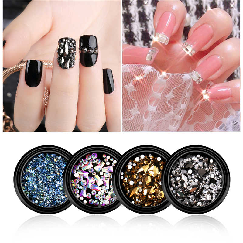 1Box Mixed Colorful Rhinestones For Nails 3D Chameleon Stones Gravel Glass Crystal Micro Beads Charm DIY UV Nail Art Decorations