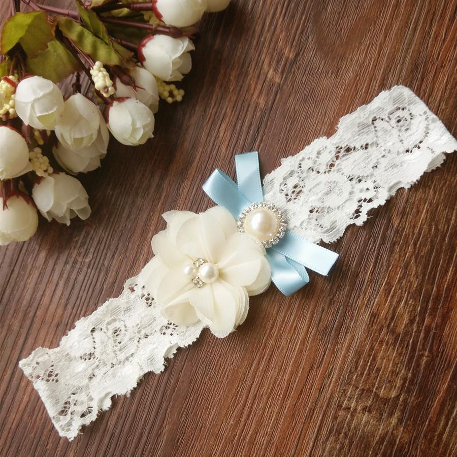 1pcs Wedding Vintage Garter Ivory Chiffon Flower With Pearl And Something Blue Bridal Lace Garter