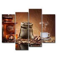 Brown 4 Piece Wall Art Painting Coffee Cup Plate Pictures Prints On Canvas For Home Decor ,Ready to Hang Drop shipping