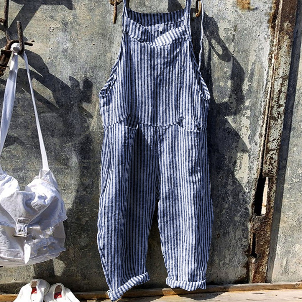 2019 Sexy High Waist Linen Striped Wide Leg Jumpsuit Women Spaghetti Strap Loose Casual Romper Summer Pocket Overalls in Jumpsuits from Women 39 s Clothing