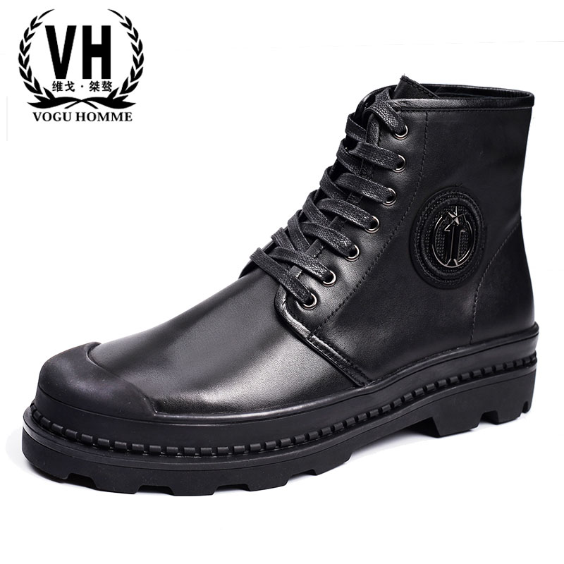 In autumn and winter, men wear leather shoes, Martin boots, waterproof shoes, middle and high boots, short boots, tide shoes and