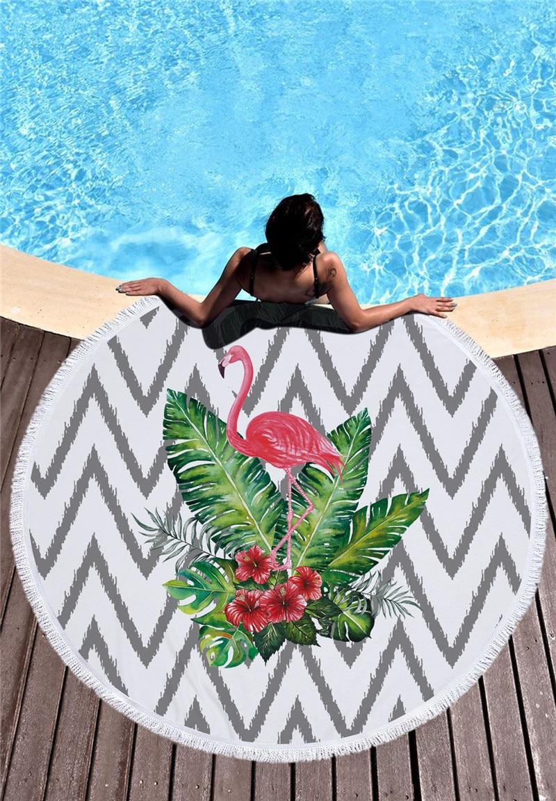 HTB10DqXSXXXXXXYXVXXq6xXFXXXt - Round Style Microfiber Beach Towel - Flamingo With Tassels Design
