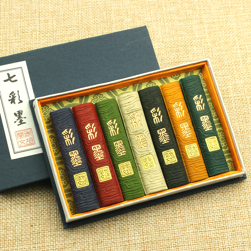 Exquisite Multicolored Ink Stick Set Traditional Chinese Painting Inkblock Calligraphy Writing Drawing Sumi-e Water Grinding