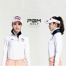 PGM Brand High Quality Outdoor Sport Pure Cotton Durable Polo Elastic Long Sleeve Collar Women Golf Shirt for Autumn 5 Colors