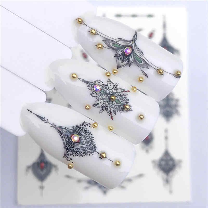 YWK 2020 yeni tasarımlar kurt/Vintage/Flamingo asil kolye Nail Art su çıkartmaları transferi Sticker manikür tırnak dekorasyon