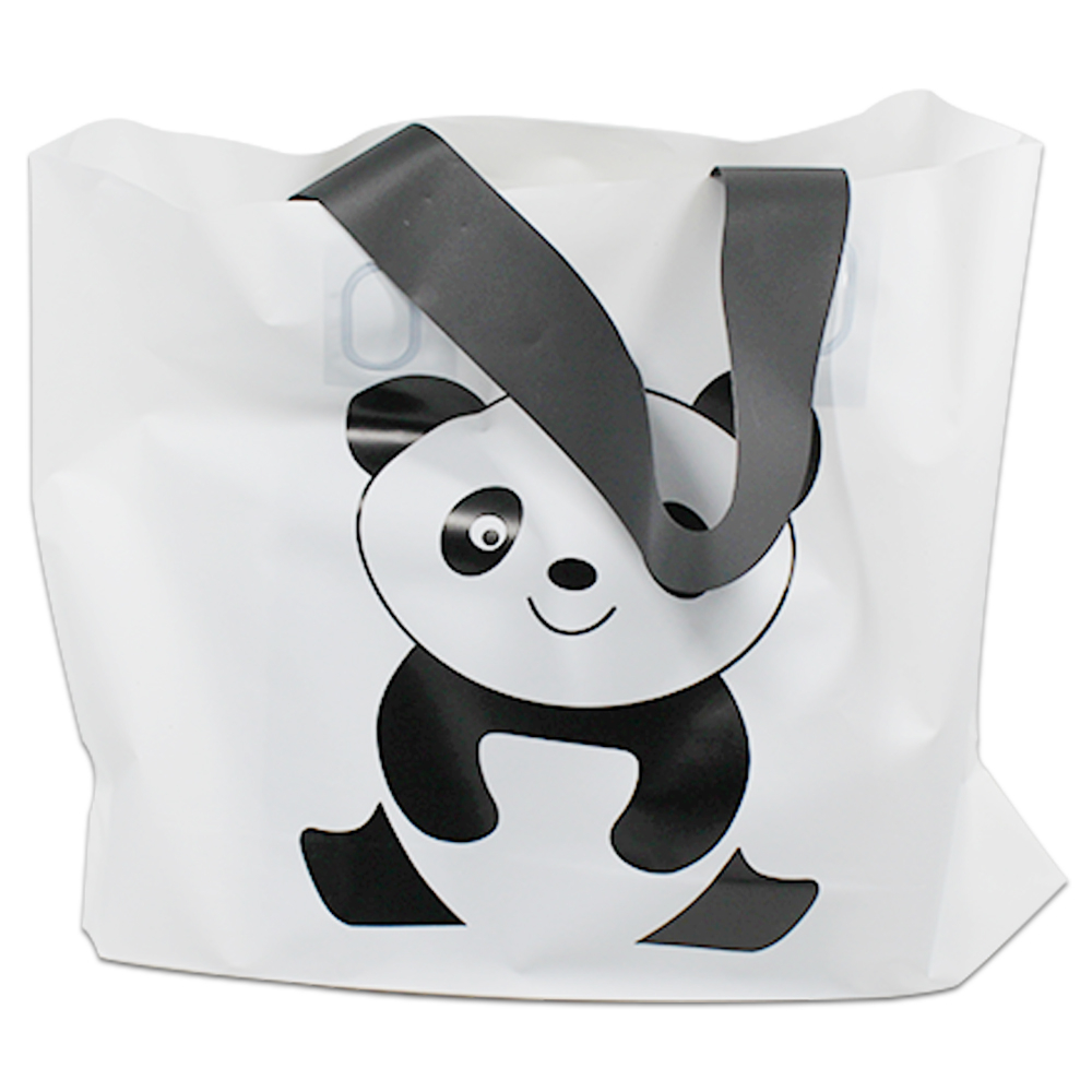 25pcs/lot 5 Sizes Printed Cartoon White Cute Panda Portable Fashion Shopping Handle Plastic Bag For Cloth Gift Merchandise Pack ...