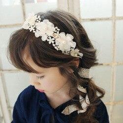 Moda coreana doce princesa bandana longo laço fita flor hairbands grinalda meninas headwear crianças acessórios de cabelo