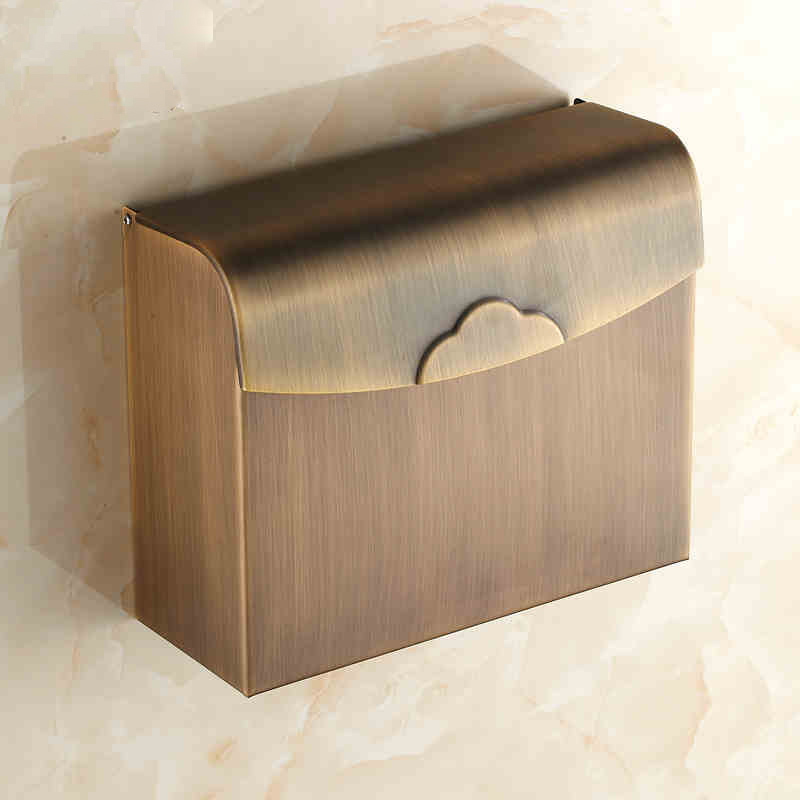 Free Shipping European Style Bathroom Tissue Box Holder WC Paper Holder Antique Brass Toilet Roll Holder Bathroom Accessories wholesale and retail wall mounted bathroom toilet paper holder antique black brass roll tissue box free shipping 7816
