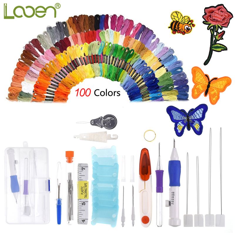Cute Magic Embroidery Pen Punch Needle Set With 100pcs Threads Embroidery Patterns Punch Needle Kit Craft Tool for DIY Sewing in Sewing Tools Accessory from Home Garden