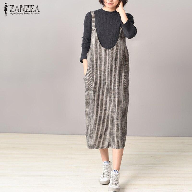 Neue Frauen Vestido 2018 Sleeveless Streifen Taschen Pullover Spaghetti Strap Kleid Bib Insgesamt Beiläufige Kurze Elegante Mid-Kalb Kaftan