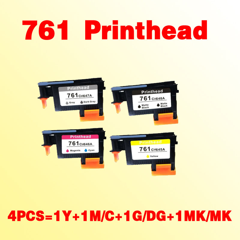 4pcs high quality For hp761 prinheads for hp 761 T7100 T7200 CH645A CH646A CH647A CH648A for hp761 magenta cyan prinhead for hp 761 t7100 t7200 ch646a