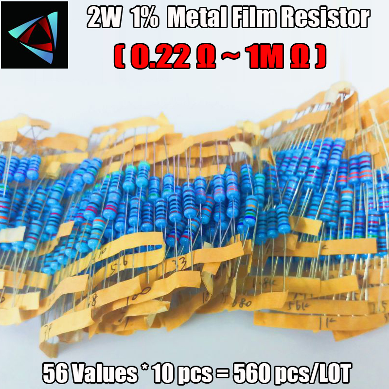 Total 560pcs 1% 2W 56Values (0.22Ohm ~<font><b>1MOhm</b></font>) Metal Film <font><b>Resistors</b></font> Assorted Kit 10pcs Each value image