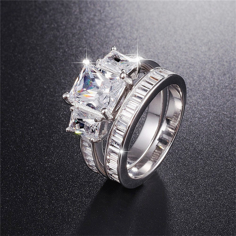 Hot Sale 925 Sterling Silver Wedding Ring Finger 2-in-1 Luxury Emerald Cut Simulated Diamond Jewelry For Women Engagement Rings