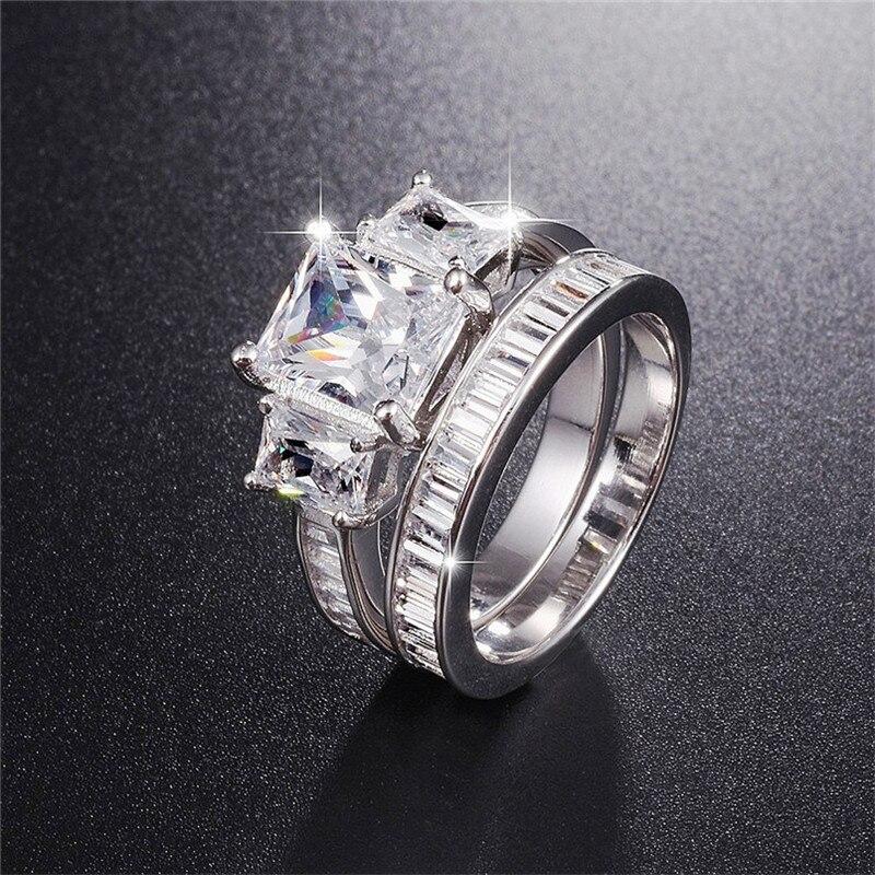 Offre spéciale 925 bague de mariage en argent Sterling doigt 2-en-1 de luxe taille émeraude bijoux en diamant simulé pour les femmes bagues de fiançailles