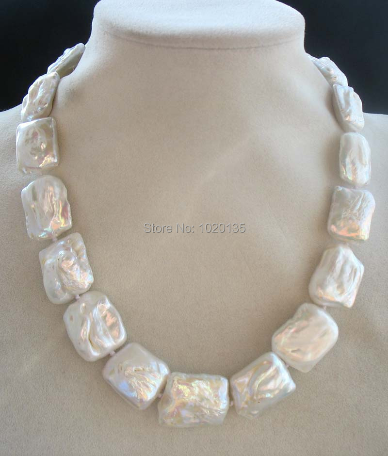 freshwater pearl white reborn keshi oblong necklace 18 FPPJ nature beads 20-25mm freshwater pearl white reborn keshi oblong necklace 18 FPPJ nature beads 20-25mm