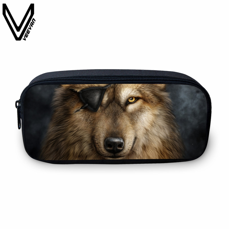VEEVANV Animal Wolf Prints Case Holder Casual Cosmetic Bags Cute Animal Purses Kids Wallets School Case For Study Students Bags