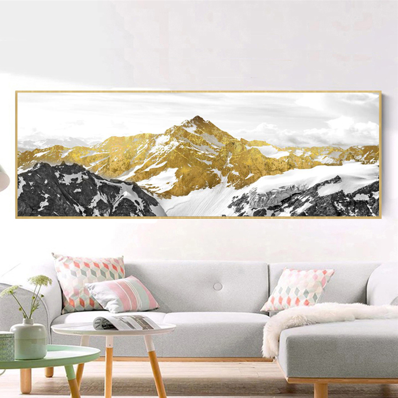 Abstract Landscape Oil Painting Posters and Prints Wall Art Canvas Painting Golden Mountain Pictures for Living Room Home Decor in Painting Calligraphy from Home Garden