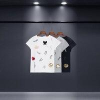 Dur Bonbon 2017 Summer New Sequined Hot Drilling Cotton T Shirt Women Love Bow Crown Note