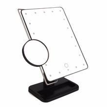 340 Degree Free Rotation MR-L208 20 LED Adjustable Brightness Women Makeup Tabletop Mirror + Stainless Steel Magnifier Hot New