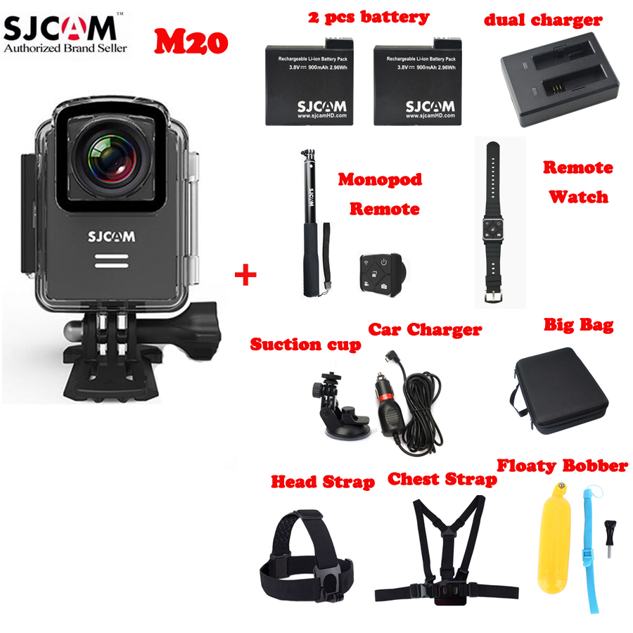 SJCAM M20 Wifi 30M Waterproof Sports Action Sj Camera +2Battery+Remote Monopod+Remote Watch+Car Kit+Bag+Head,Chest Strap+Floaty original sjcam m20 wifi 4k 24fps 30m waterproof sports action camera sj cam dvr 2 extra battery dual charger remote monopod
