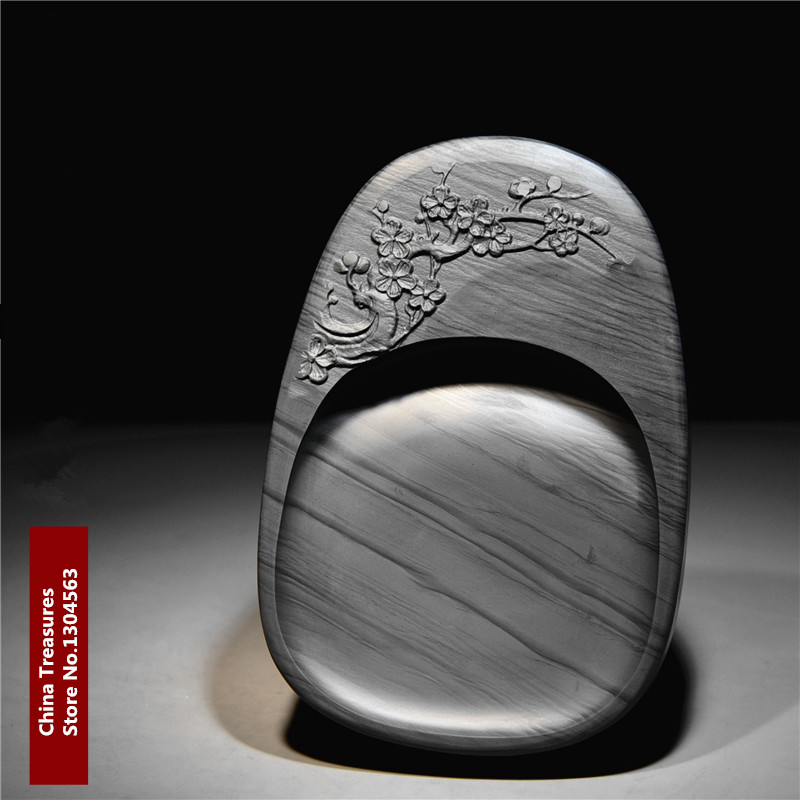 Witersweet Mei Hua Chinese She Yan Tai Inkstone for Grinding Ink Made of Natural Stone Paint Plate Ink Slab