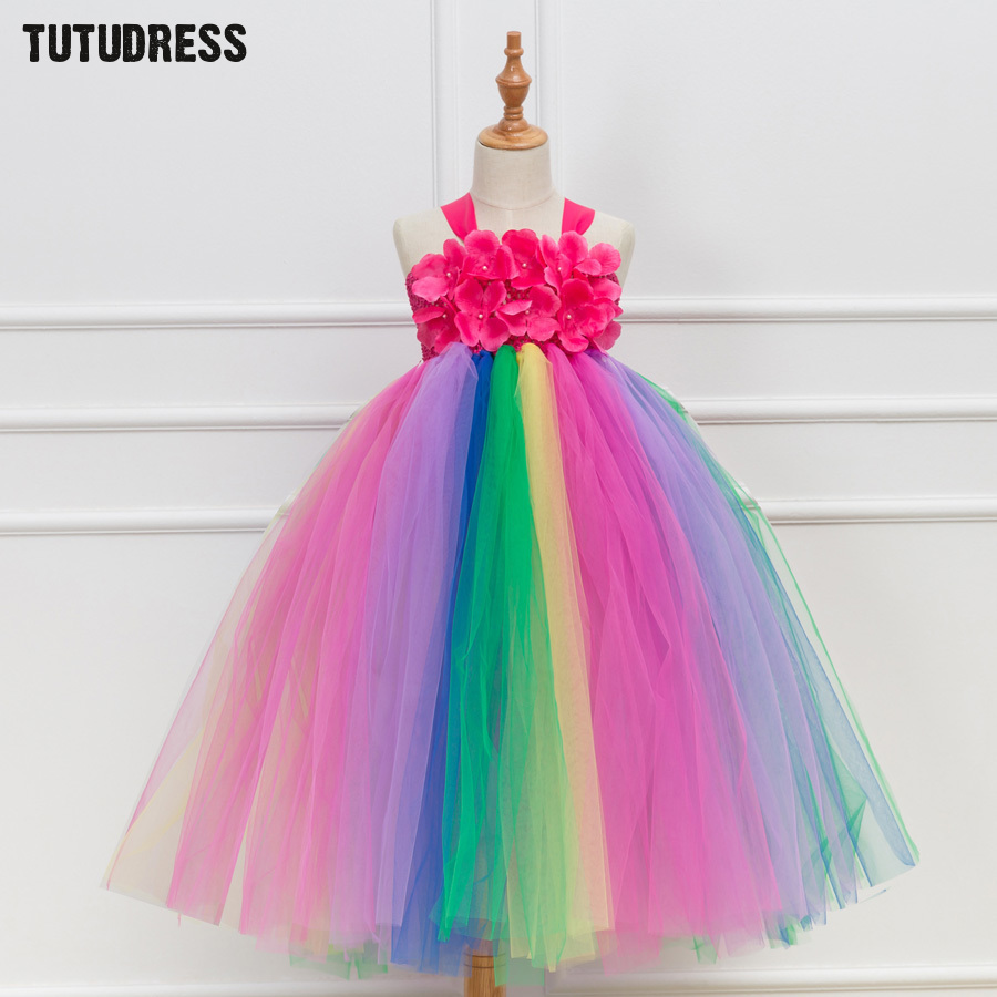 Children Girls Rainbow Tutu Dress Tulle Princess Flower Girl Tutu Dresses Fancy Kids Girl Halloween Birthday Party Dresses 2-12Y lovely rainbow tutu dress girls kids flower girl dresses tulle princess dress costumes children party birthday wedding gowns