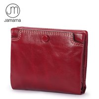 Jamarna Genuine Leather Short Wallet Wemen Mini Oil Wax Coin Purse Card Photo Holder Zipper Coin