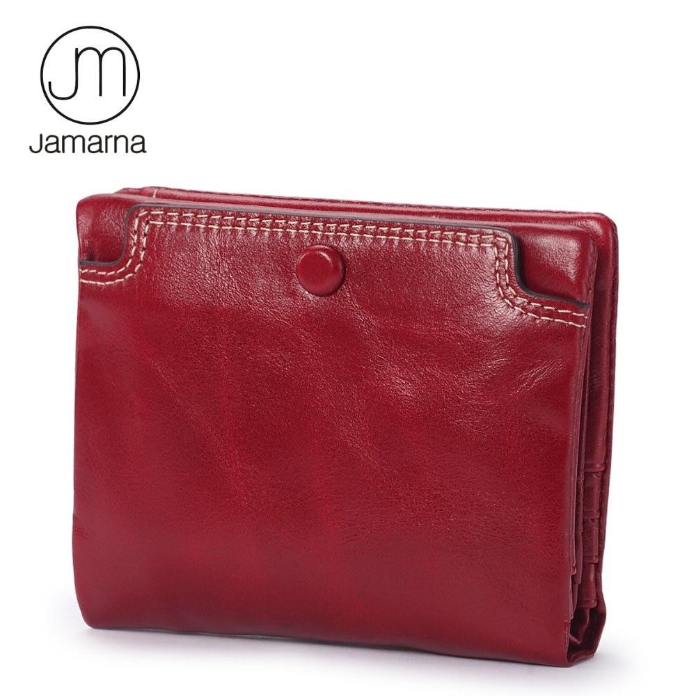 Jamarna 2017 Female Short Wallet Genuine Leather Oil Wax Bifold Coin Purse Card ID Holder Zipper Pocket Wallet Women Small стоимость