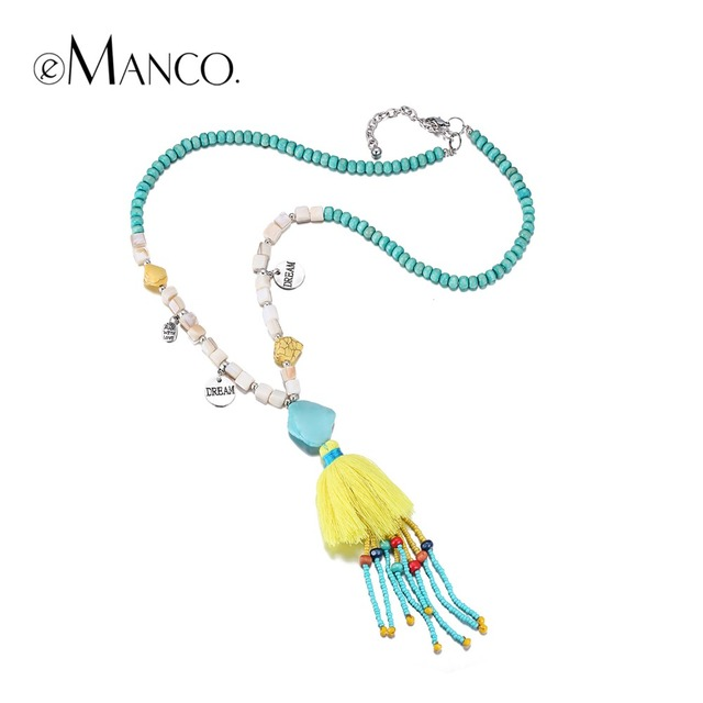 eManco 11 Color Ethnic Bohemia Tassel Statement Necklaces & Pendants Women Resin Turquoise Wood Beads Chain Yellow Jewelry