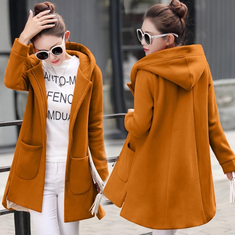 2017 Женская осенне зимняя толстовка с капюшоном для девочек, длинное кашемировое утепленное пальто 2017 Hitz, зимнее пальто на молнии, свободная