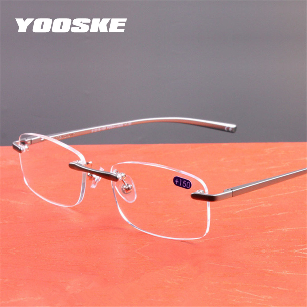 9ad0dd8bd7 YOOSKE Aluminum Frameless Reading Glasses HD lens Presbyopia Spectacles  Rimless Women Men Glasses Classic Unisex Eyeglasses