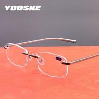 bd7531ca549c YOOSKE Aluminum Frameless Reading Glasses HD lens Presbyopia Spectacles  Rimless Women Men Glasses Classic Unisex Eyeglasses