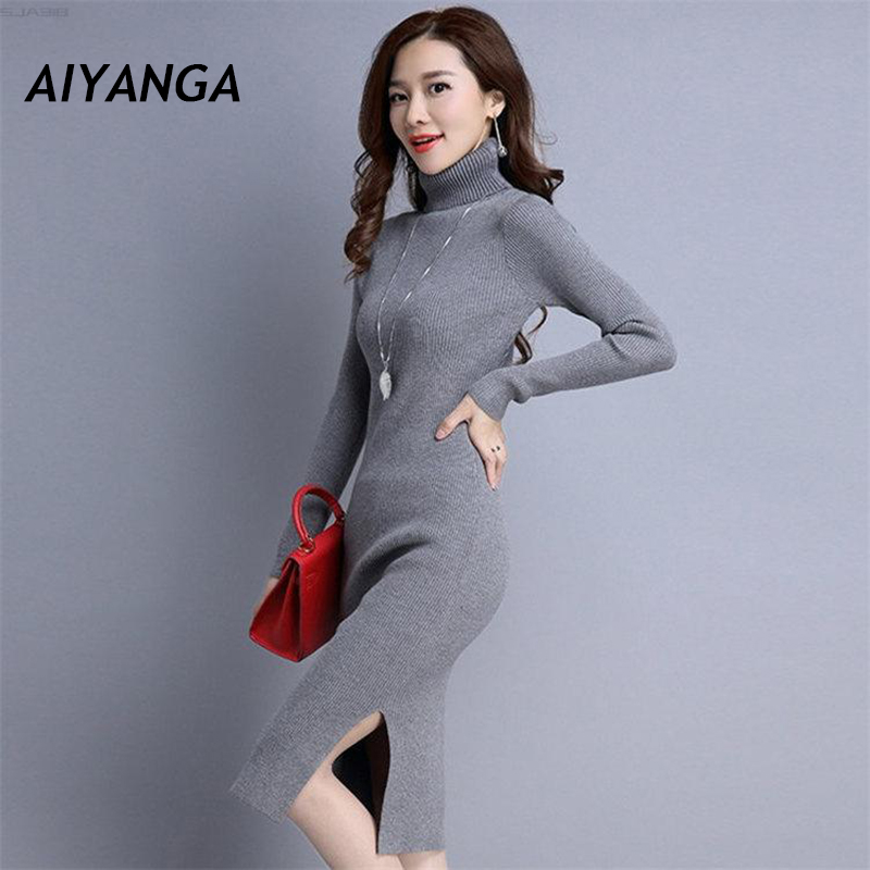 New Winter Knitting Turtleneck Sweater Dresses For Women Long Sleeve Pullovers Knitted stretch Slim Pack Hip Split Dress Female new 2017 hats for women mix color cotton unisex men winter women fashion hip hop knitted warm hat female beanies cap6a03