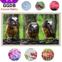 GGDB 5D DIY Diamond Painting Three Owls Animal DIY Full Square Stick Drill Drawing Resin Crystal