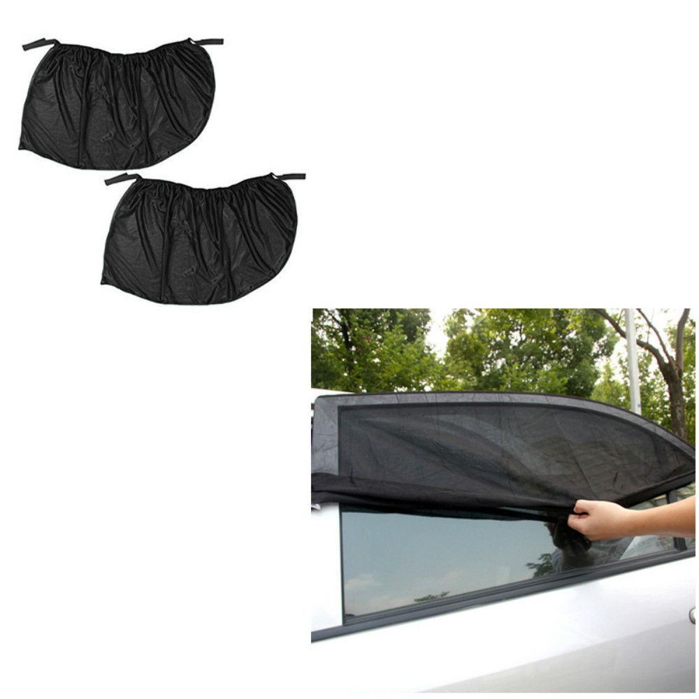 Image 5 - 2Pcs 110*50CM Window Sun Shade Black Mesh Cover Child UV Protector Shield For Most Car Auto Car Side Rear Window Sun Shade-in Front Window from Automobiles & Motorcycles
