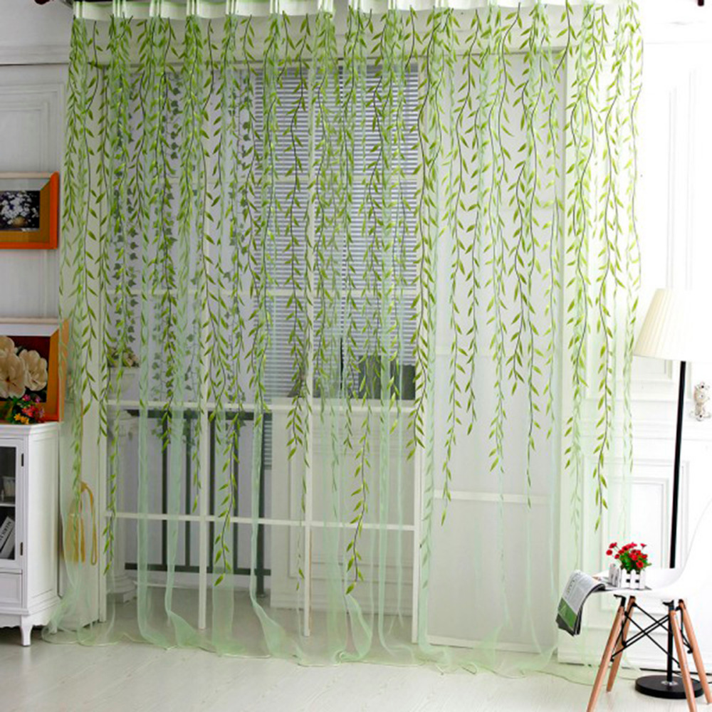 Fashion French Window Valance Curtain Living Room Sheer Curtain Tulle Voile Sallow Willow Wicker Flocked Window Home Decorations