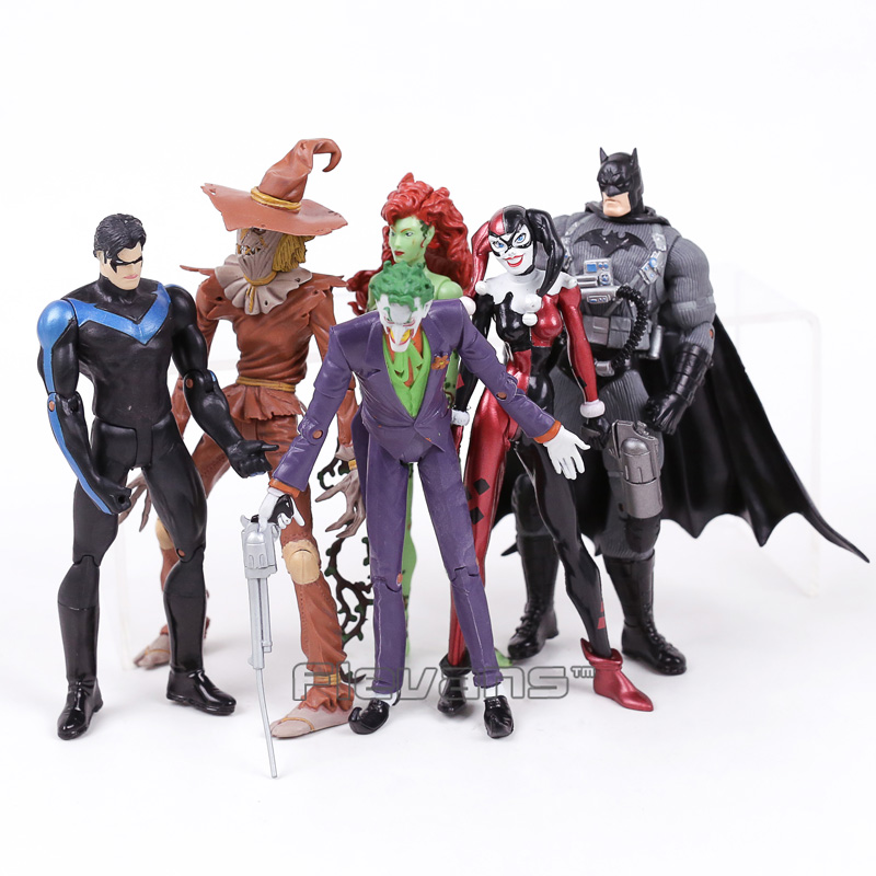 DC COMICS Batman Joker Harley Quinn Nightwing Poison Ivy Scarecrow PVC Action Figures Collectible Model Toys 6pcs/set patrulla canina with shield brinquedos 6pcs set 6cm patrulha canina patrol puppy dog pvc action figures juguetes kids hot toys