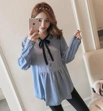 Large Size Loose Striped Maternity Blouse 2018 Spring Autumn New Long Sleeve Tops Clothes for Pregnant Women QL829