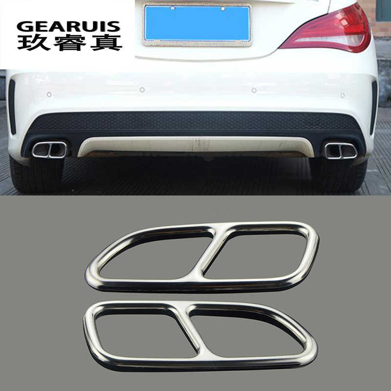 Car Styling Automobiles Tail Throat Decor Frame For Mercedes Benz CLA C117 Exhaust Pipe Trim Covers Stickers Auto Accessories