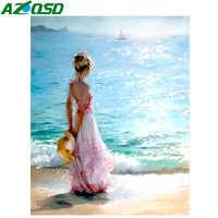 AZQSD Öl Malerei Meer Malerei Durch Zahlen Farbe Mädchen DIY Leinwand Bild Hand Bemalt Dekoration SZYH6338