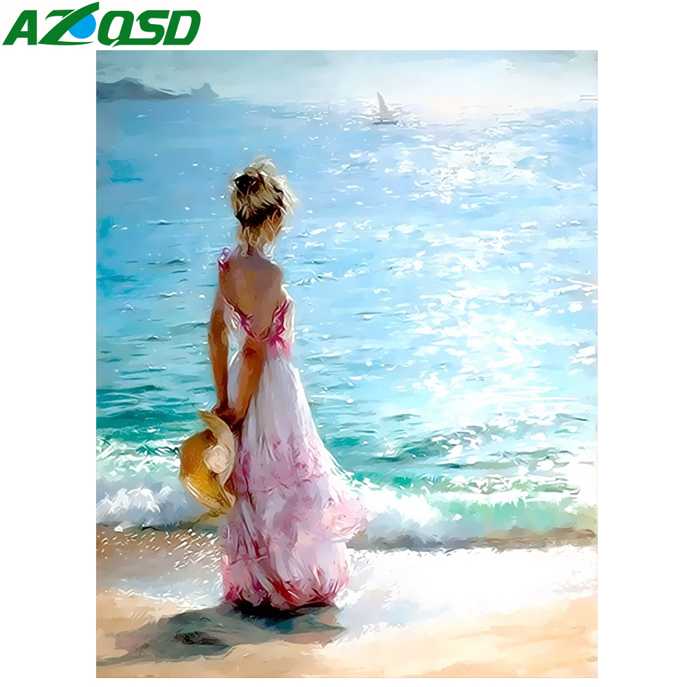 AZQSD Oil Painting Seaside Painting By Numbers Paint Girl DIY Canvas Picture Hand Painted Home Decoration SZYH6338