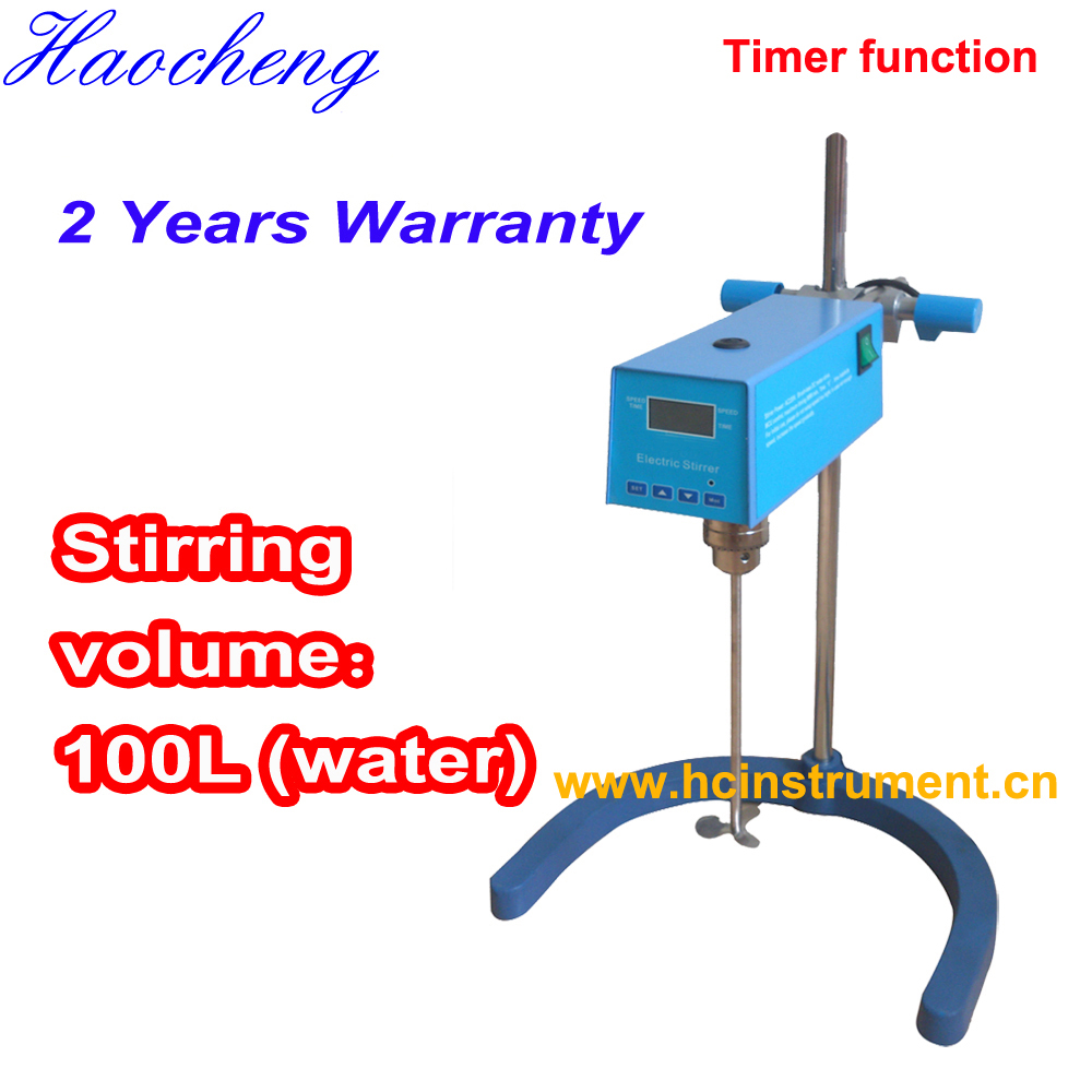 Free shipping, Stirring Volume Max 100L LED Laboratory Overhead Stirrer with Timer free shipping stir volume max 100l high performance laboratory overhead stirrer