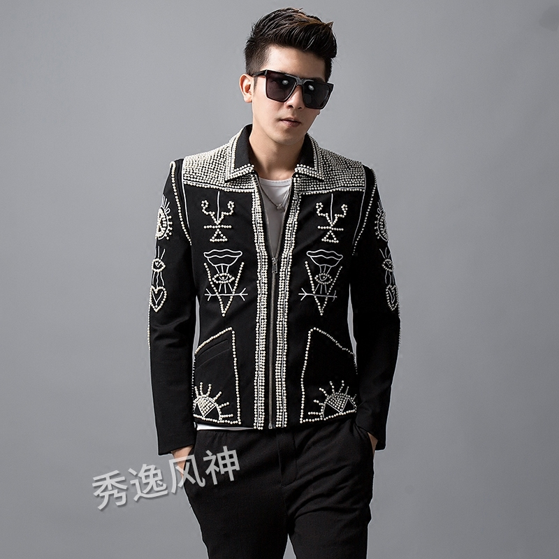 Hand Beads Jacket Men  Stand Collar Slim Blazers Coat Wedding Bar Singer  Stage Costume Blaizer Hombre Heavy Wormanship Outfit